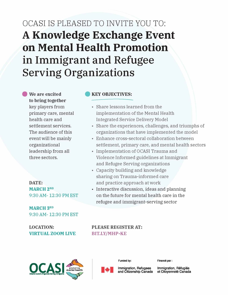 OCASI's Knowledge Exchange Event on Mental Health Promotion in Immigrant and Refugee Serving Organizations