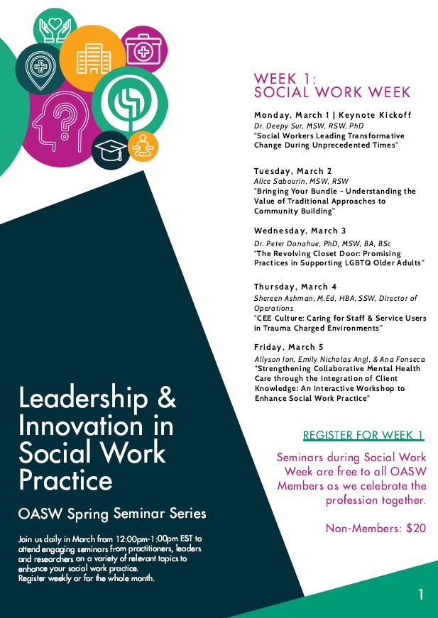 OASW Presents the Spring Seminar Series: Leadership & Innovation in Social Work Practice