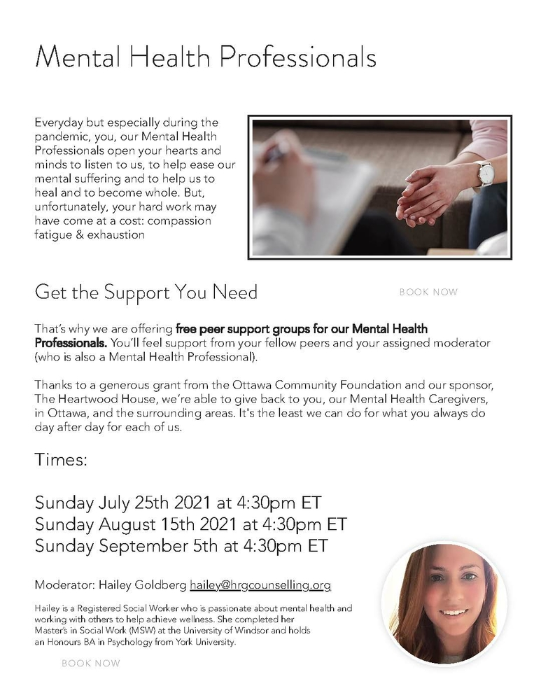 FREE PEER SUPPORT GROUPS FOR MENTAL HEALTH PROFESSIONALS