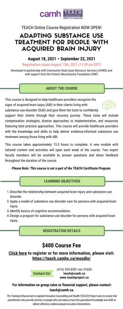 Register for TEACH Mini Course – Adapting Substance Use Treatment for People with Acquired Brain Injury