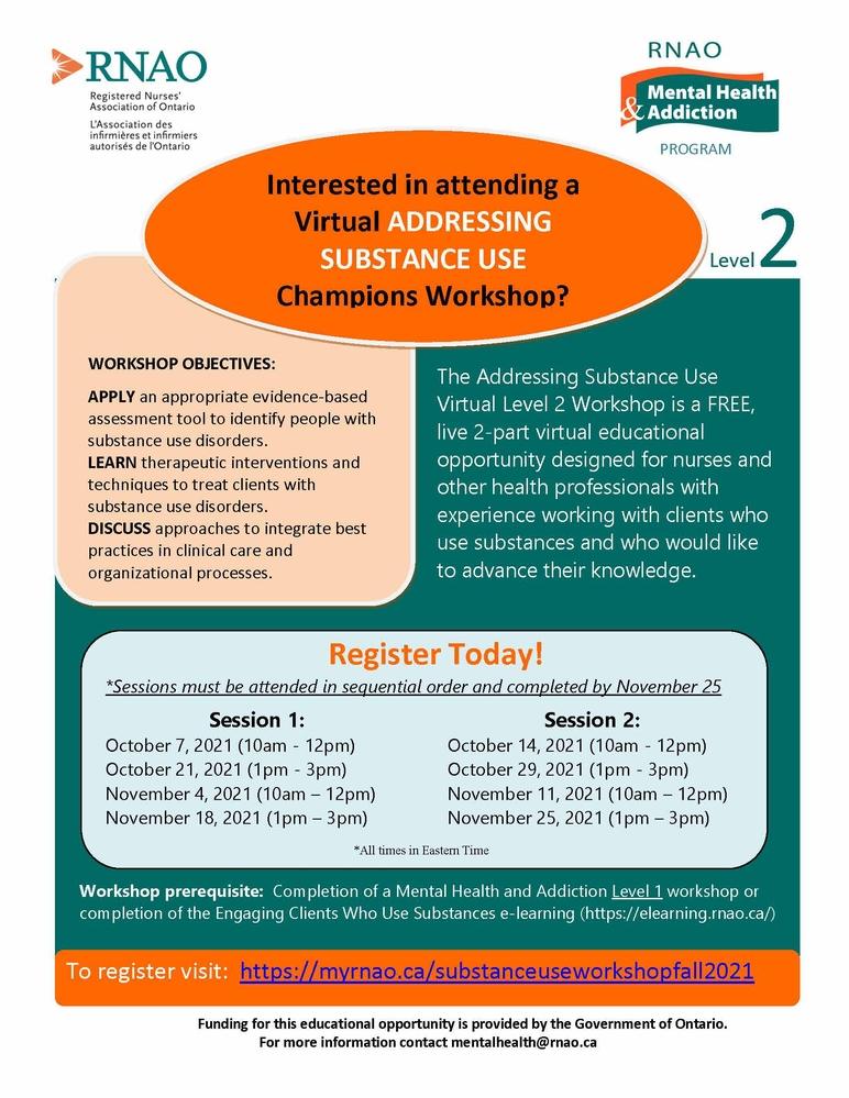 Addressing Substance Use Level 2 Champions Virtual Workshop - Fall 2021
