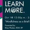 OASW Learning Centre: Mindfulness as a Brief Intervention