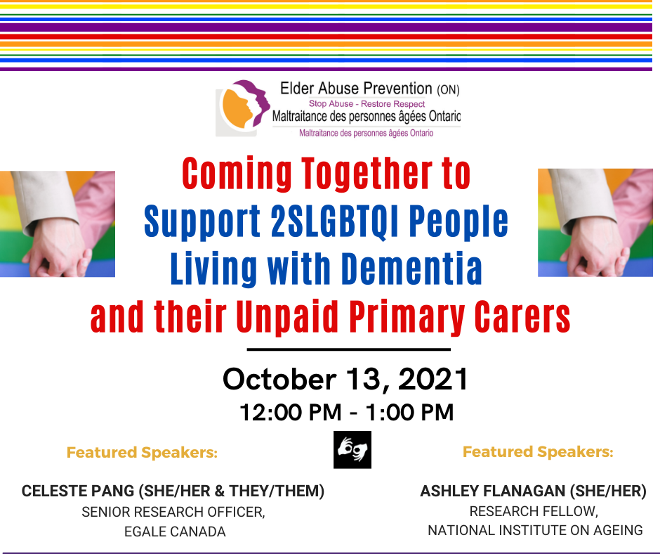 Coming Together to Support 2SLGBTQI People Living with Dementia and their Unpaid Primary Carers